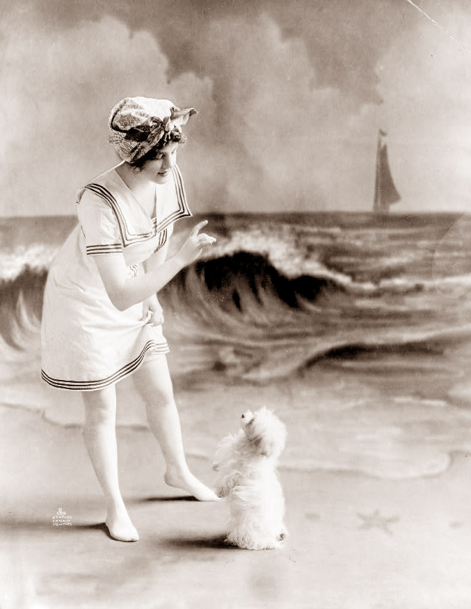Woman with Dog at Fake Beach, 1913